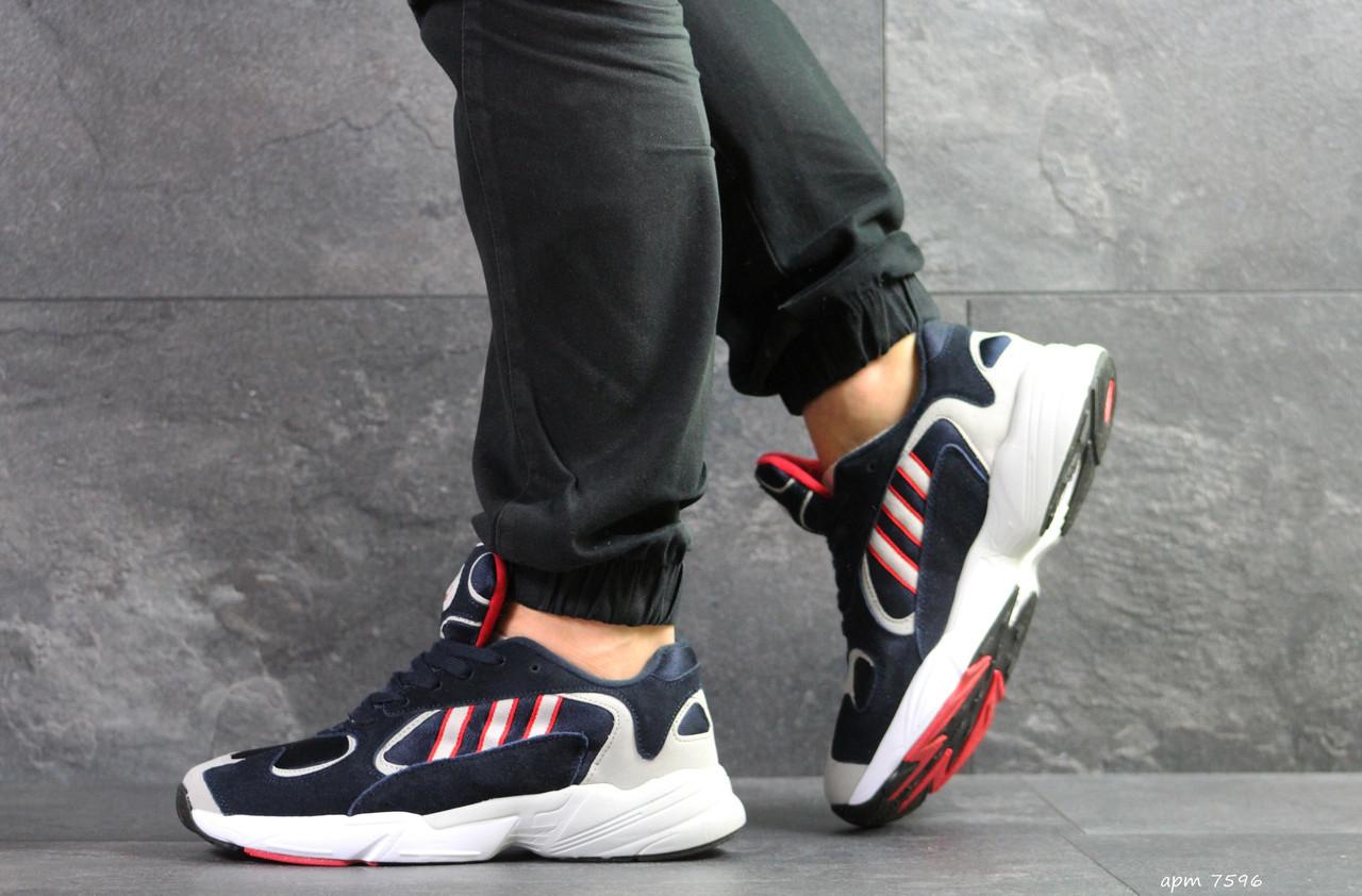 Мужские модные кроссовки Adidas Yung,замшевые темно синие с белым