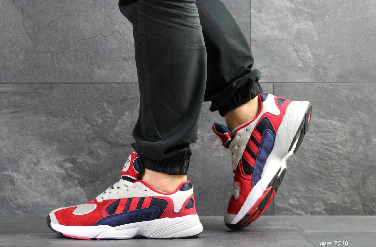 Мужские модные кроссовки Adidas Yung,замшевые,красные с синим