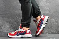 Мужские модные кроссовки Adidas Yung,замшевые,красные с синим, фото 1