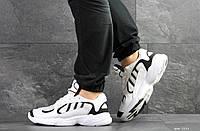 Мужские модные кроссовки Adidas Yung,замшевые,белые с черным, фото 1