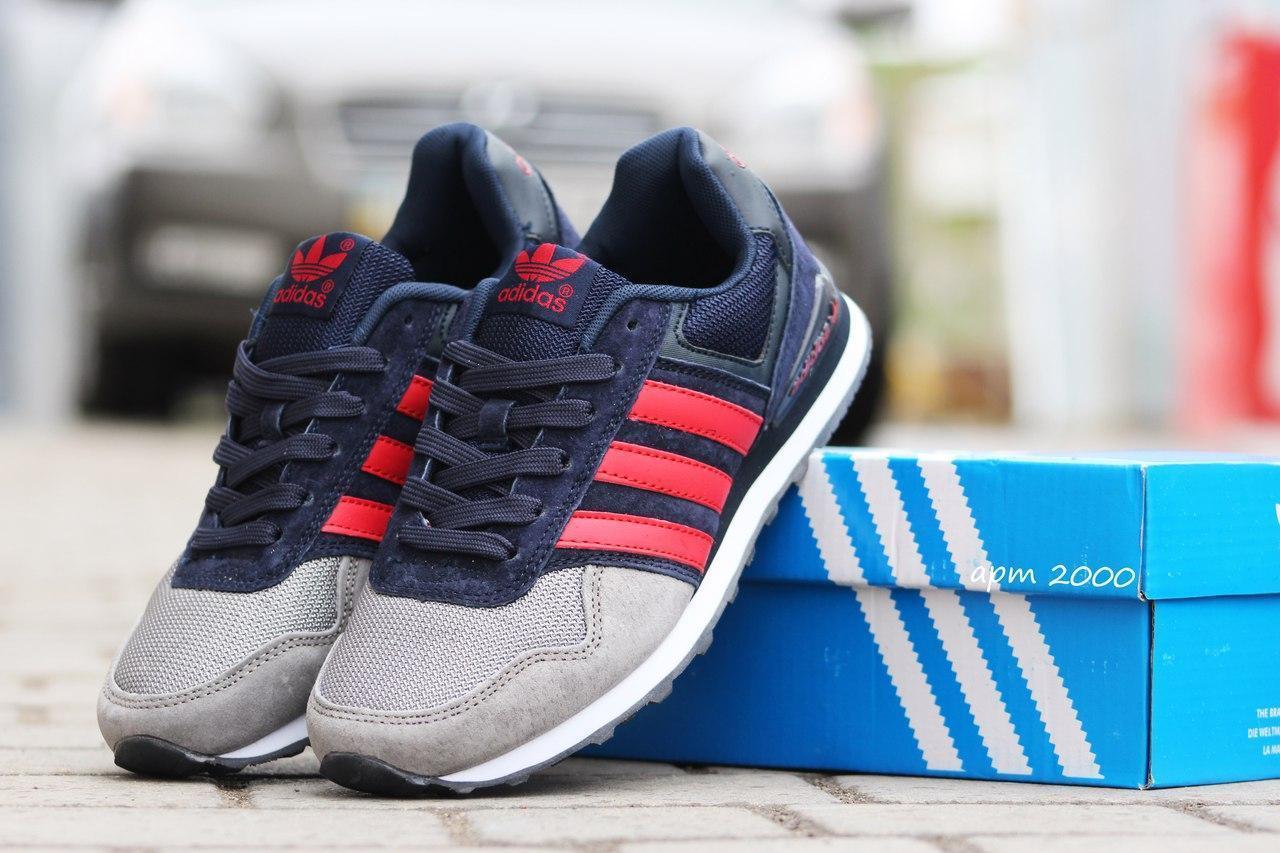 Подростковые кроссовки Адидас, Adidas темно синие с серым 38,39