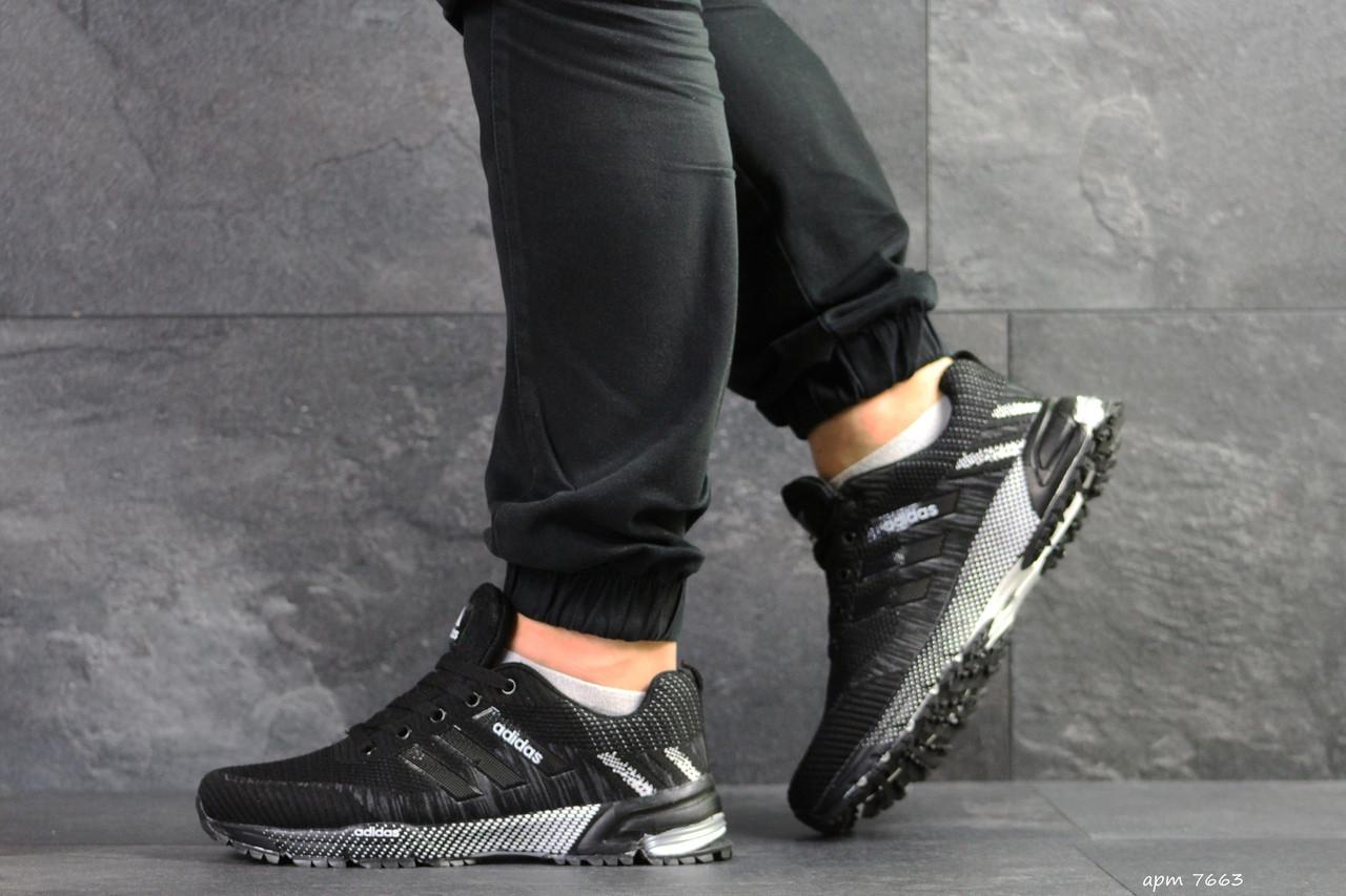 Кроссовки Adidas Marathon,сетка,черно-белые