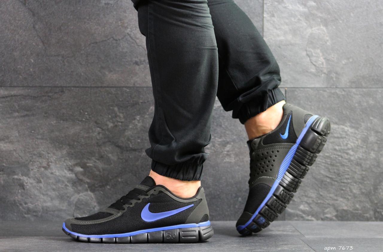 Мужские летние кроссовки Nike Free Run 5.0, черные с синим