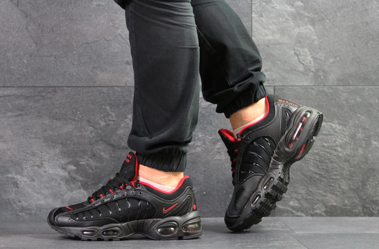 Мужские кроссовки Nike air max,плотная сетка,черные с красным