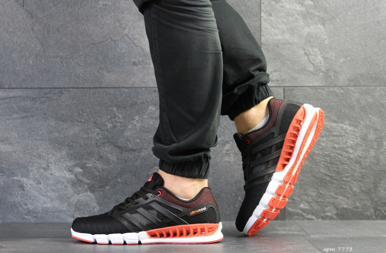 Кроссовки мужские Adidas Clima Cool,сетка,черные с оранжевым 43р