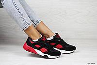 Женские кроссовки Puma Trinomic,замшевые,черные с красным, фото 1