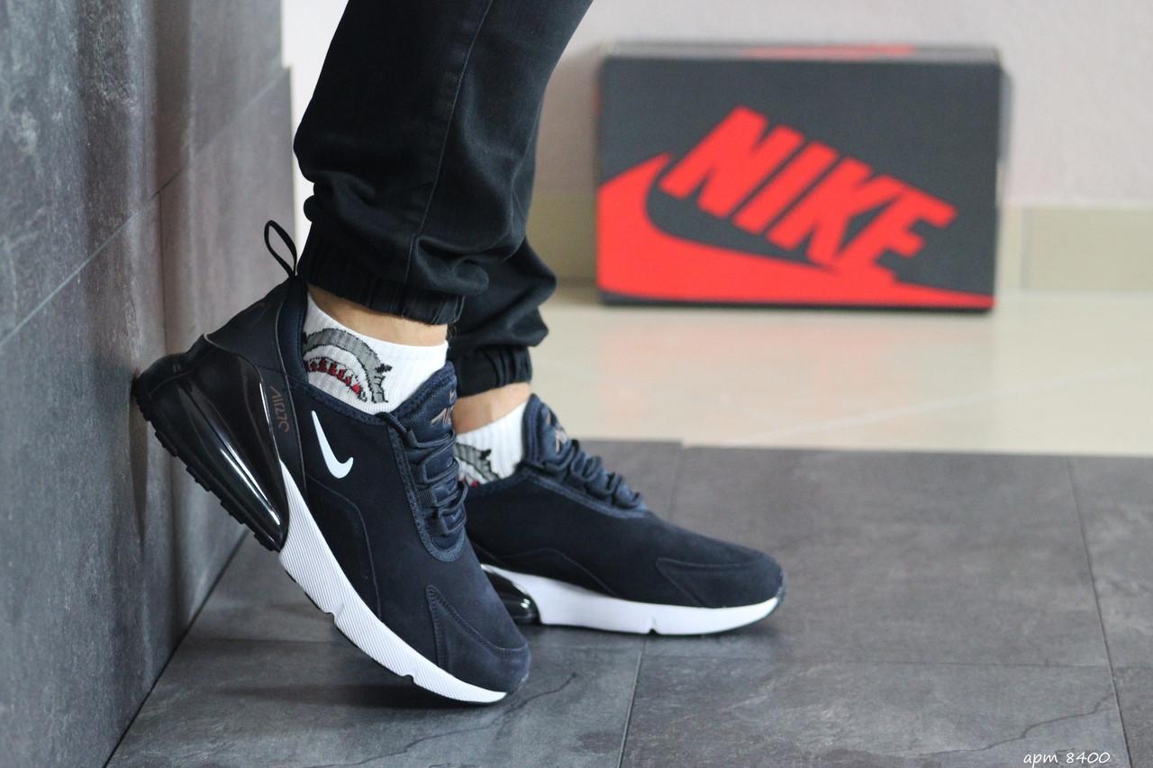 Мужские замшевые кроссовки Nike Air Max 720,темно синие с белым
