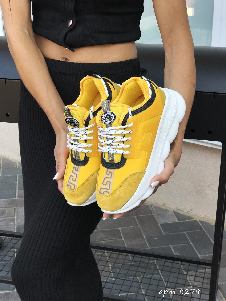 Женские Кроссовки Versace,желтые