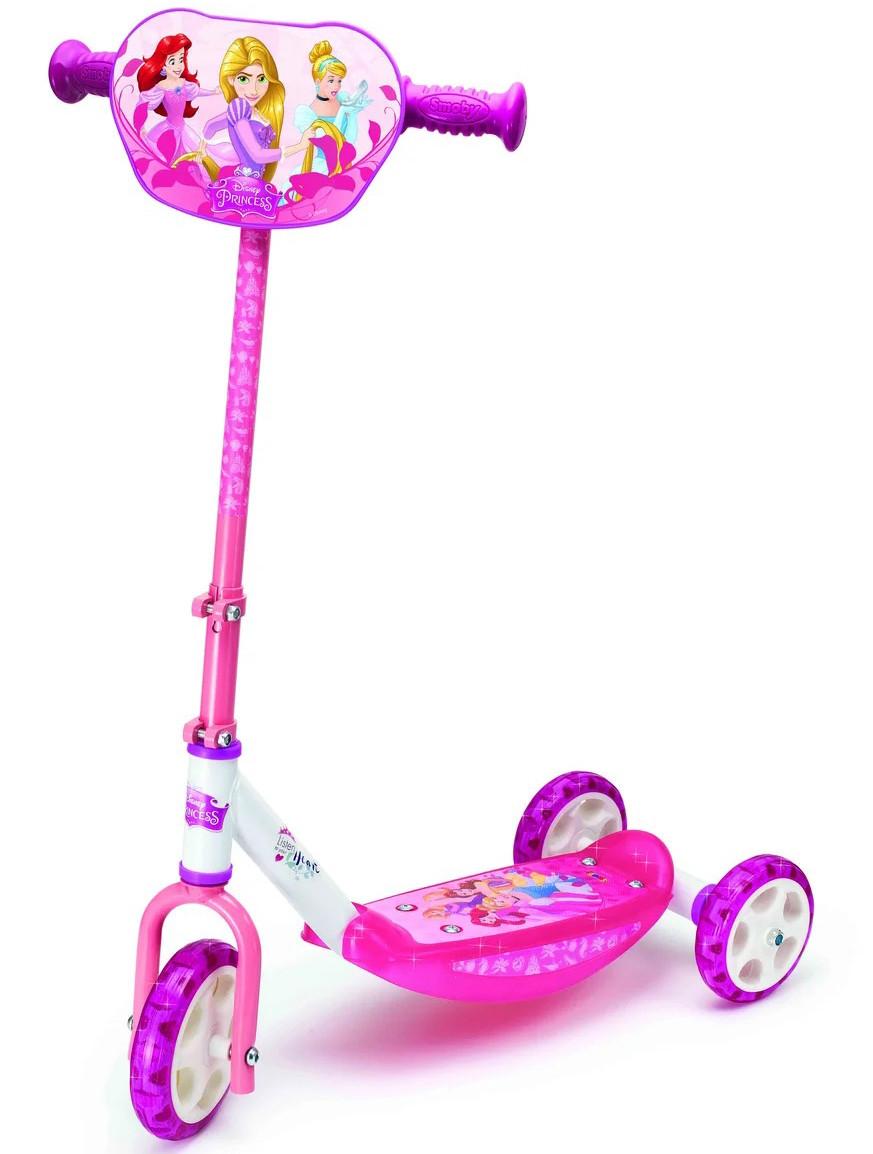 Детский самокат трехколесный «Принцессы Дисней» Smoby 750153 складной (дитячий трьохколісний Принцеси Дісней)