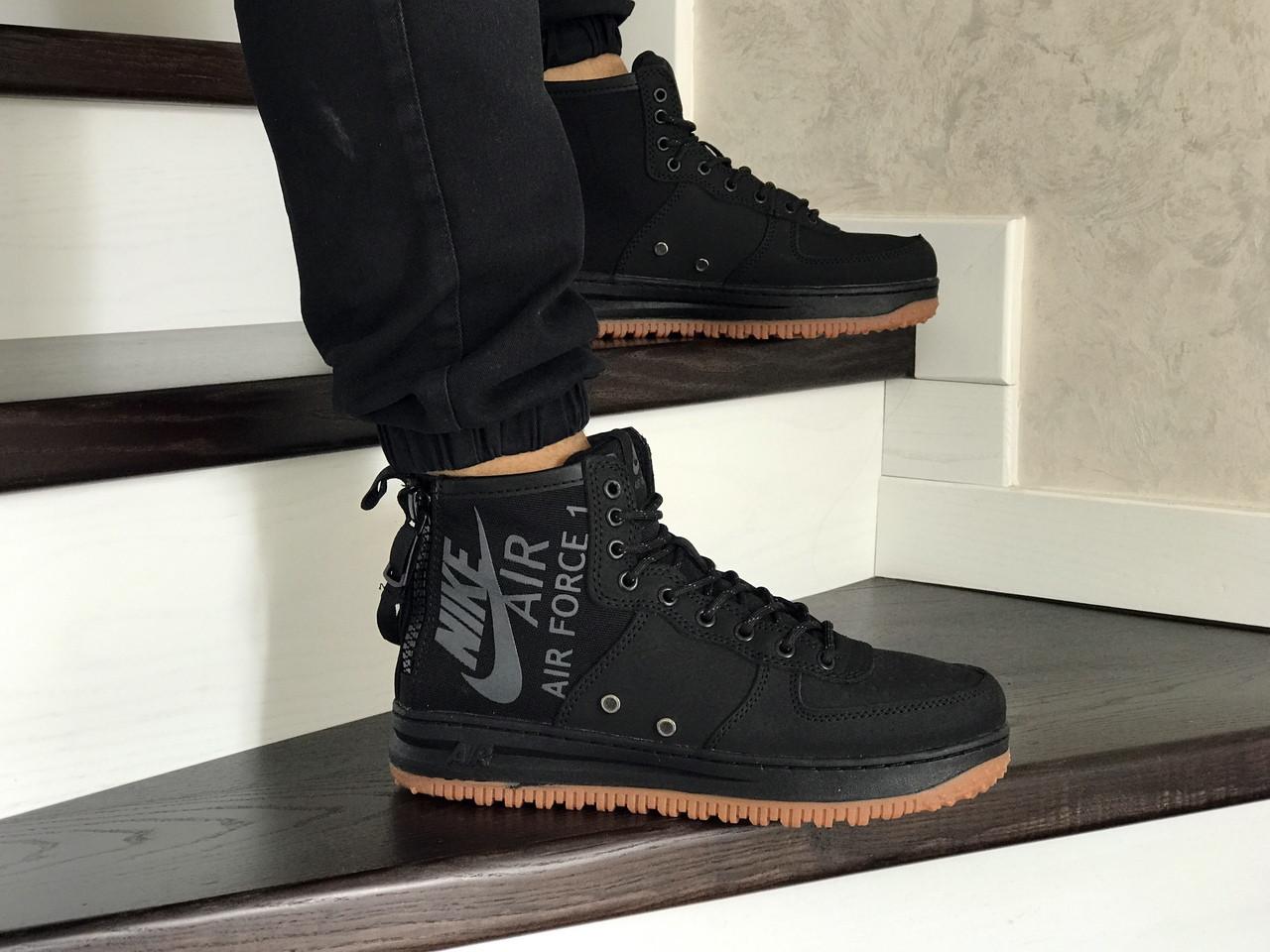 Мужские осенние высокие кроссовки Nike Air Force 1,черные