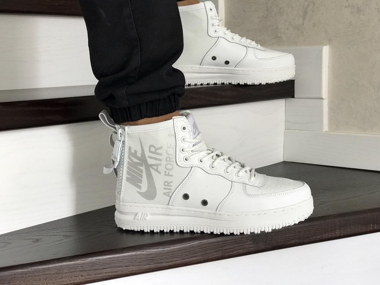 Мужские осенние высокие кроссовки Nike Air Force 1,белые