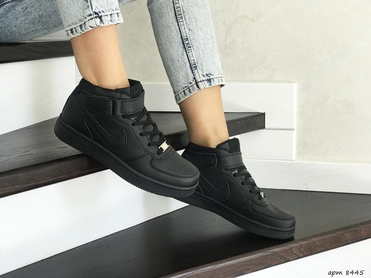 Высокие подростковые,женские кроссовки Nike Air Force,черные