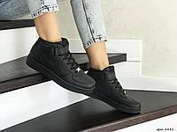 Высокие подростковые,женские кроссовки Nike Air Force,черные, фото 1