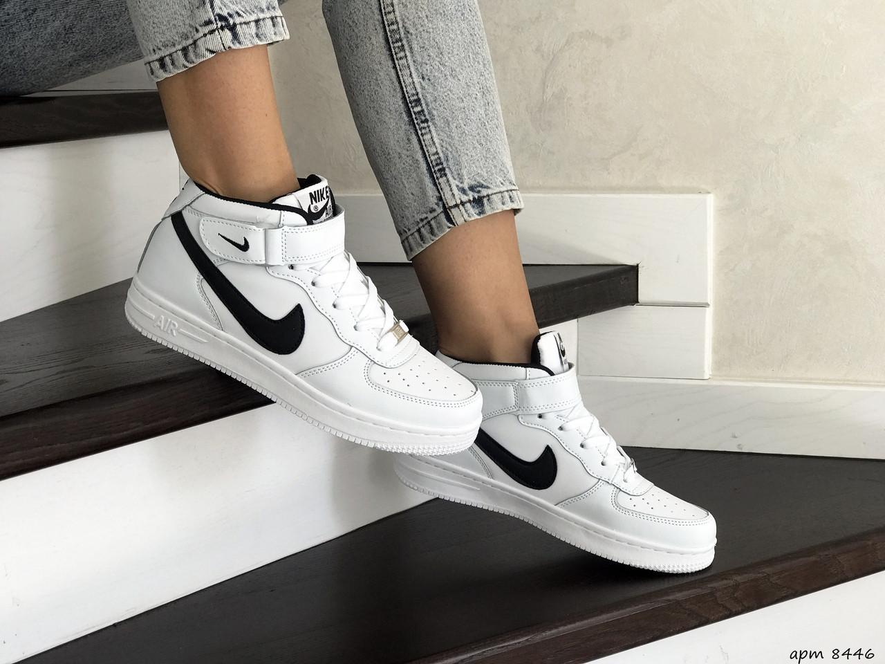 Высокие подростковые,женские кроссовки Nike Air Force,белые с черным 40,41р
