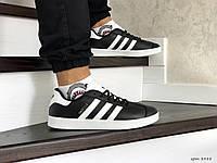 Мужские кроссовки Adidas Gazelle,белые с черным, фото 1