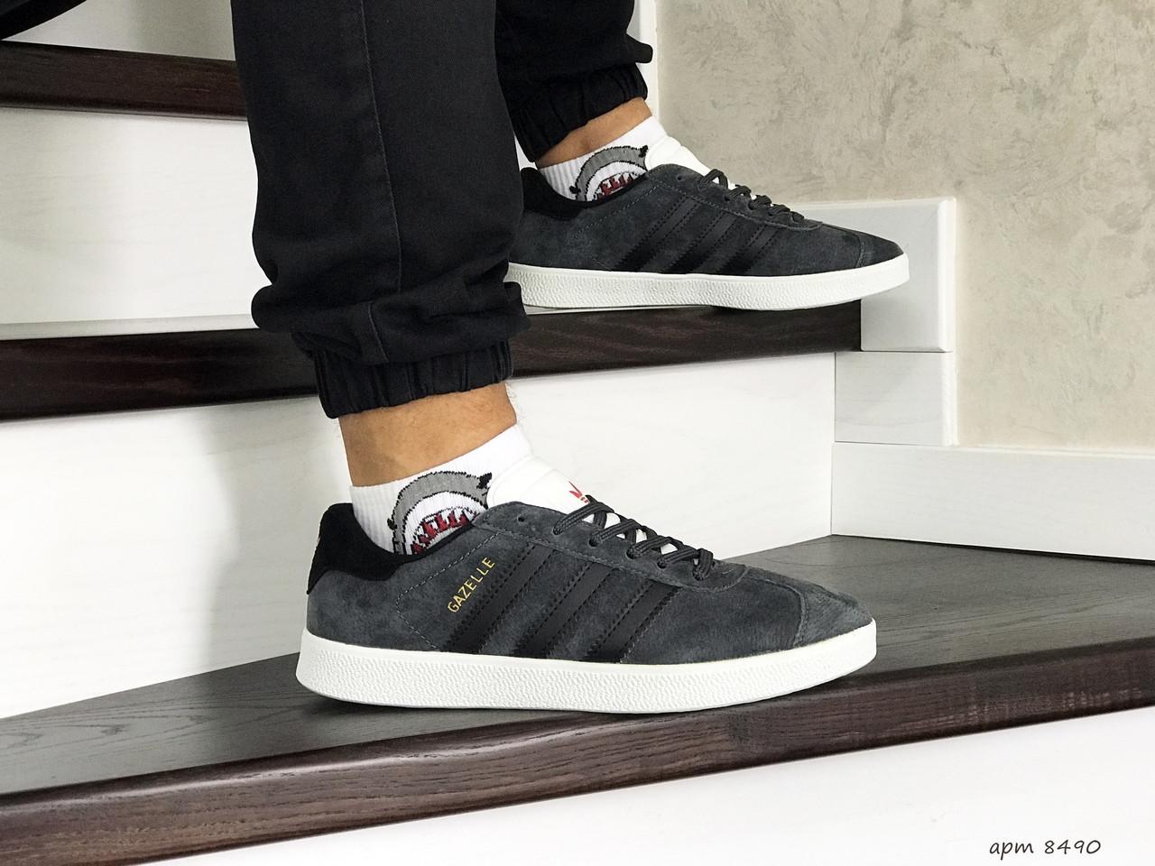 Мужские кроссовки Adidas Gazelle,замшевые,серые