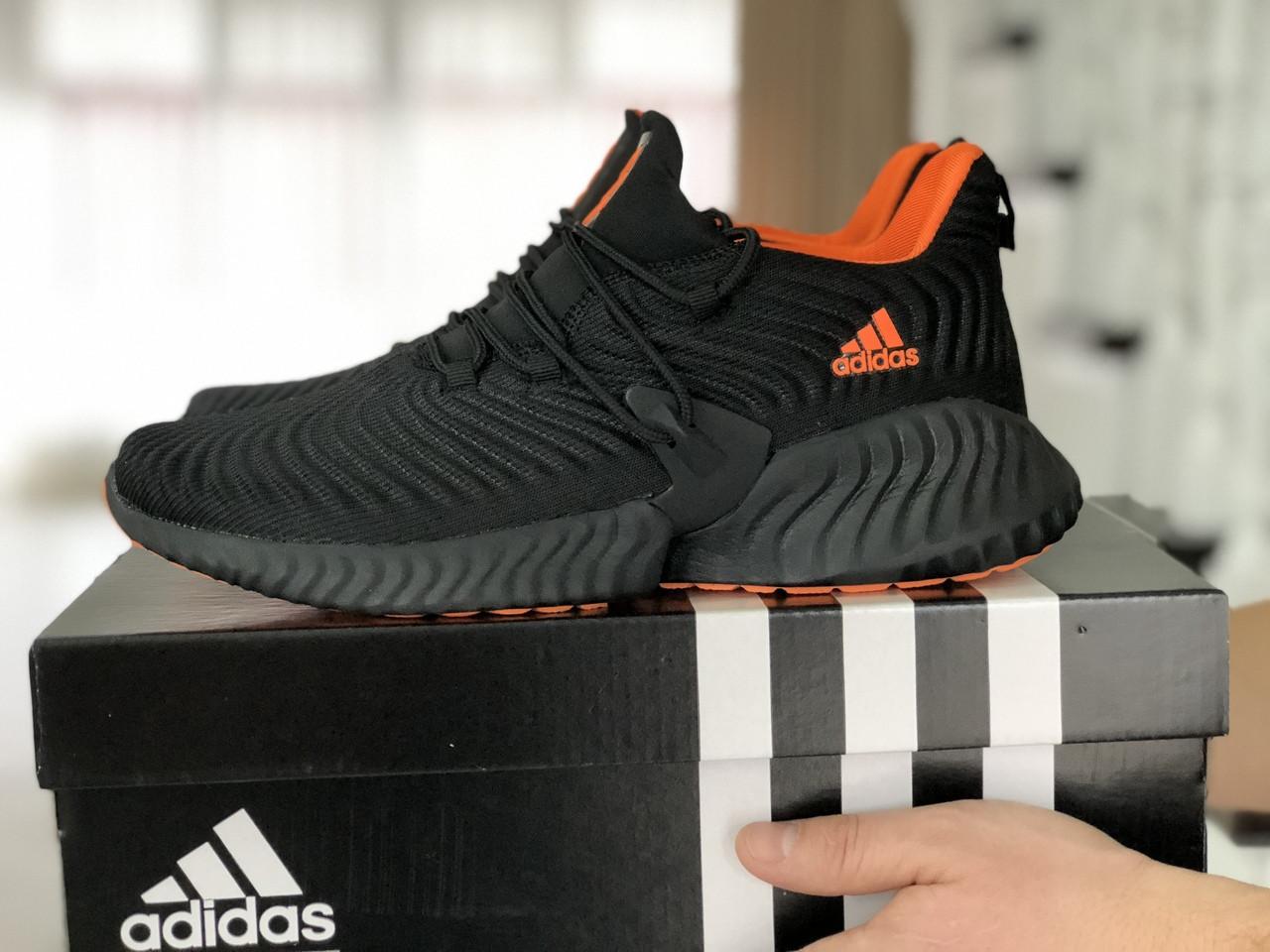 Мужские кроссовки Adidas,текстиль,черные с оранжевым