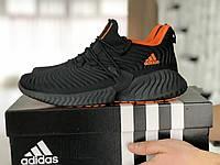 Мужские кроссовки Adidas,текстиль,черные с оранжевым, фото 1