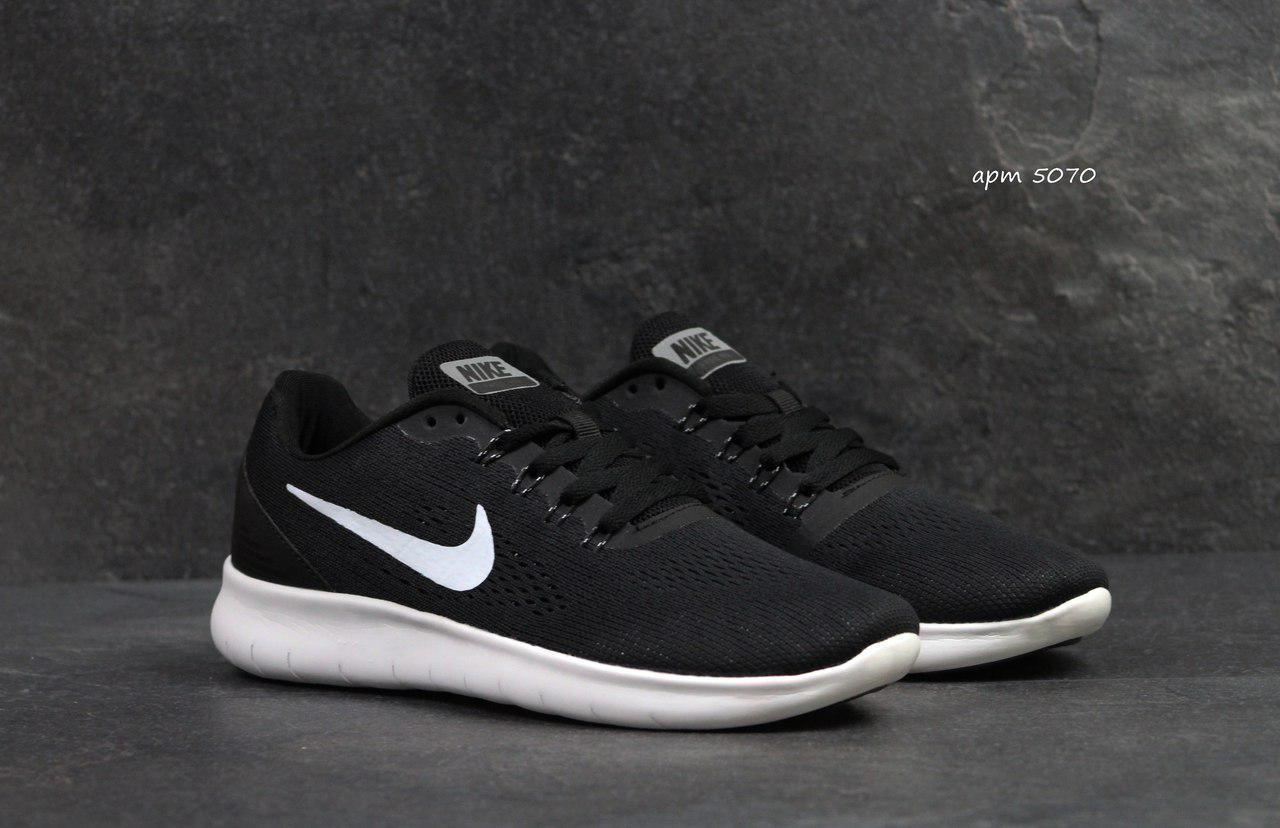 Мужские кроссовки Nike Free RN,сетка,черно-белые