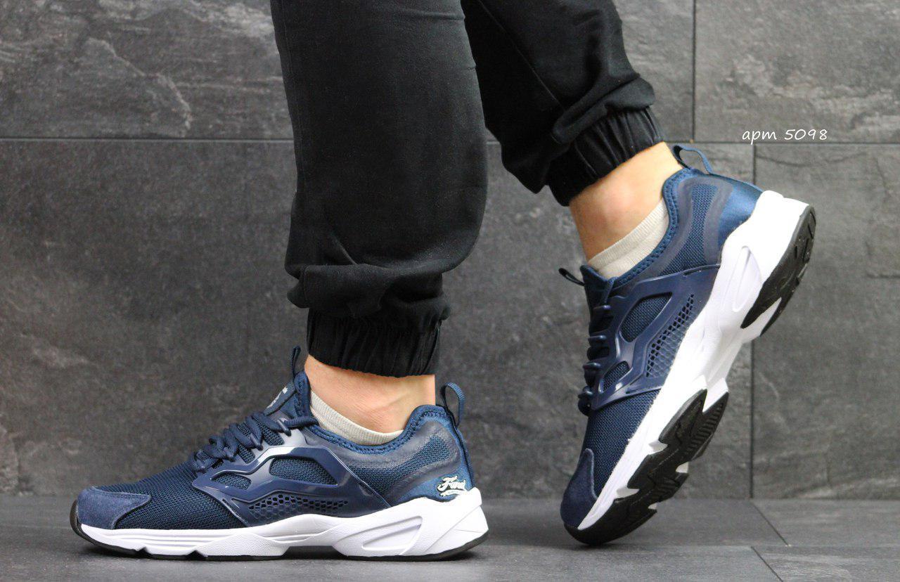 Мужские кроссовки Reebok Fury,сетка,темно голубые
