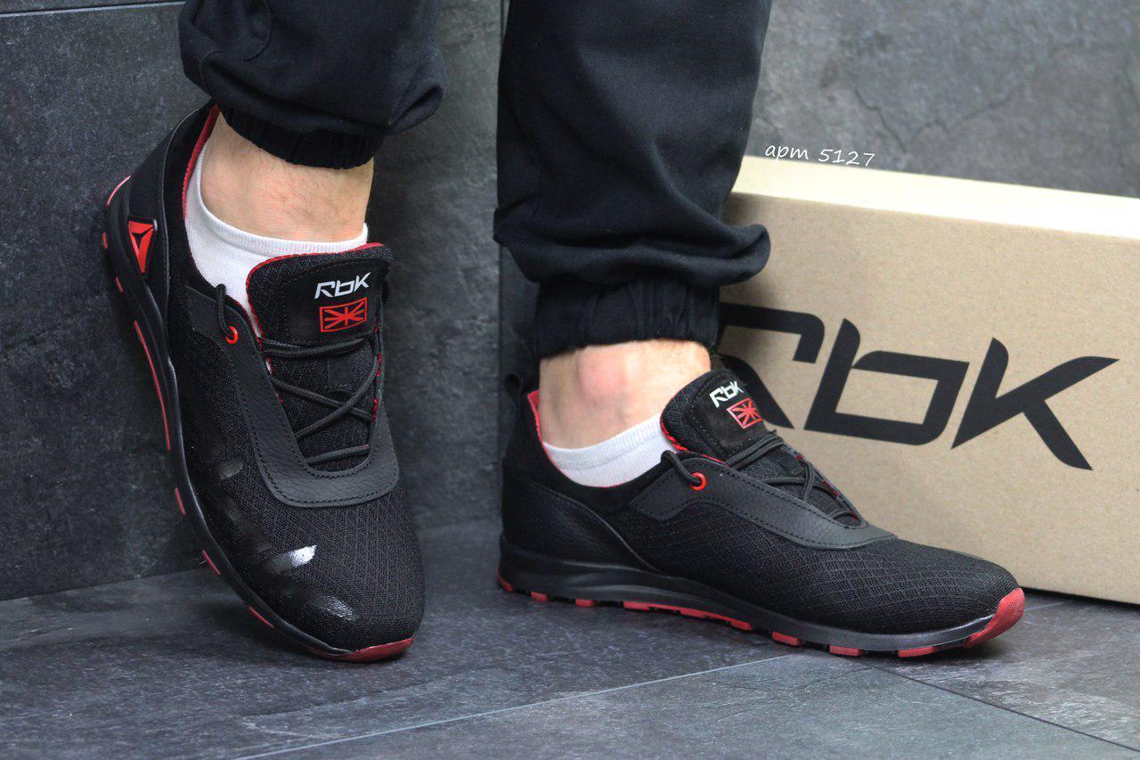 Мужские кожаные кроссовки Reebok,черные,сетка