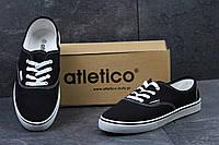 Подростковые мокасины Atletico,текстиль,черно-белые(Польша), фото 1