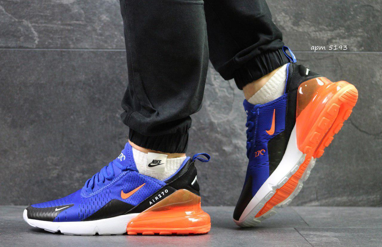 Летние мужские кроссовки Nike Air Max 270,синие с оранжевым 42,44р