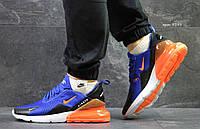 Летние мужские кроссовки Nike Air Max 270,синие с оранжевым 42,44р, фото 1
