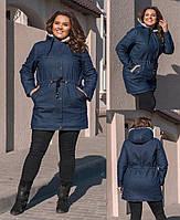 Женская удлинённая джинсовая парка на меховой искуственной овчине, два кармана спереди(48-58)