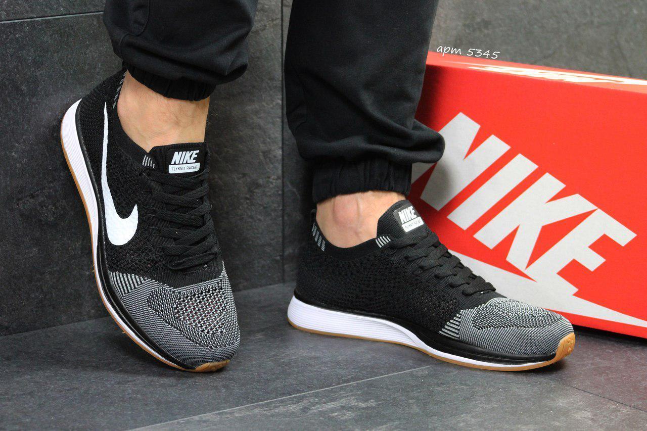 Мужские кроссовки Nike Flyknit Racer,сетка,серые с черным 44р