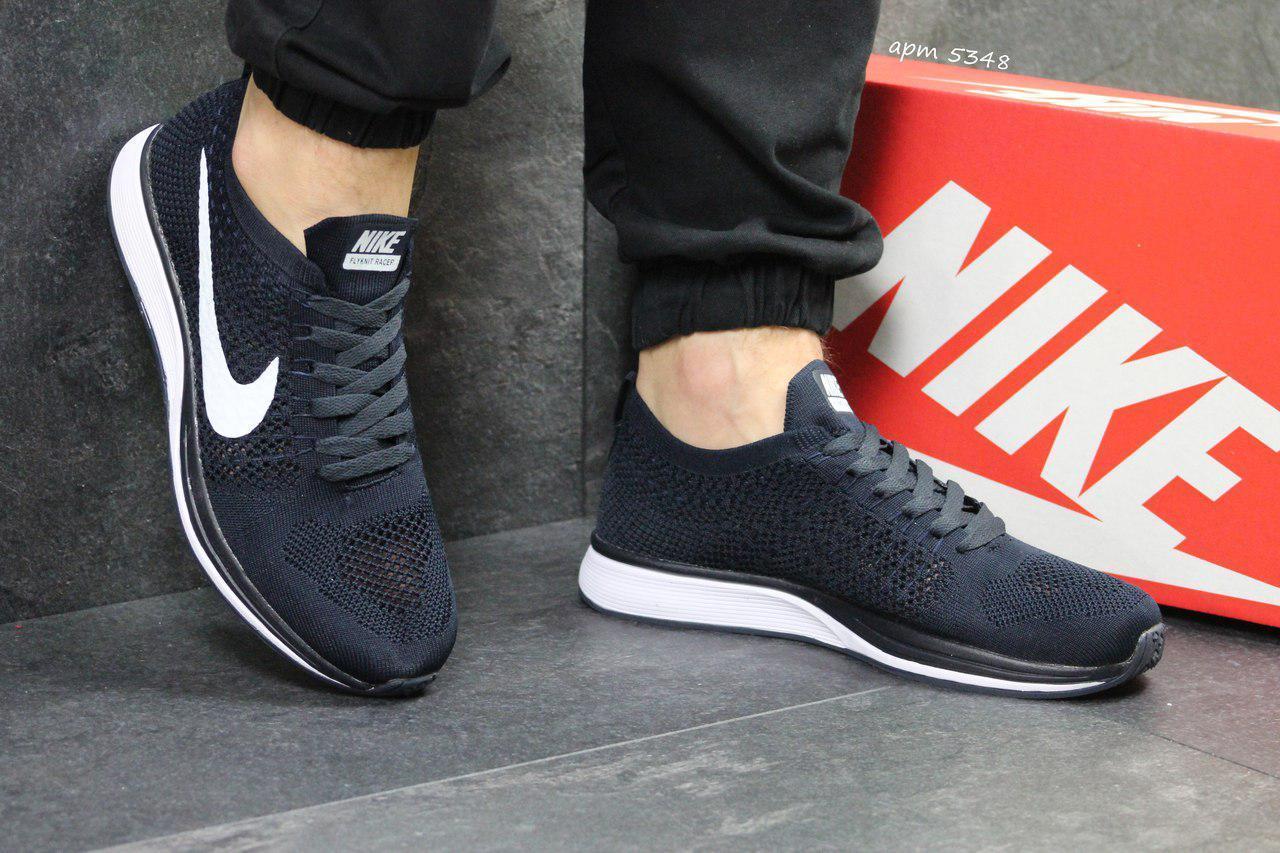 Мужские кроссовки Nike Flyknit Racer,сетка,темно синие