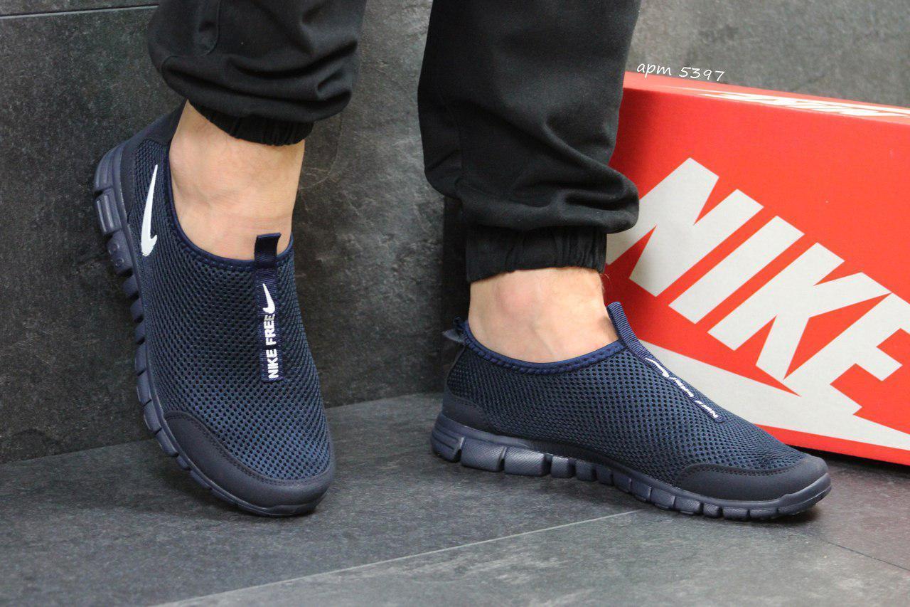 Мужские летние кроссовки Nike Free Run 3.0 темно синие 45,46р
