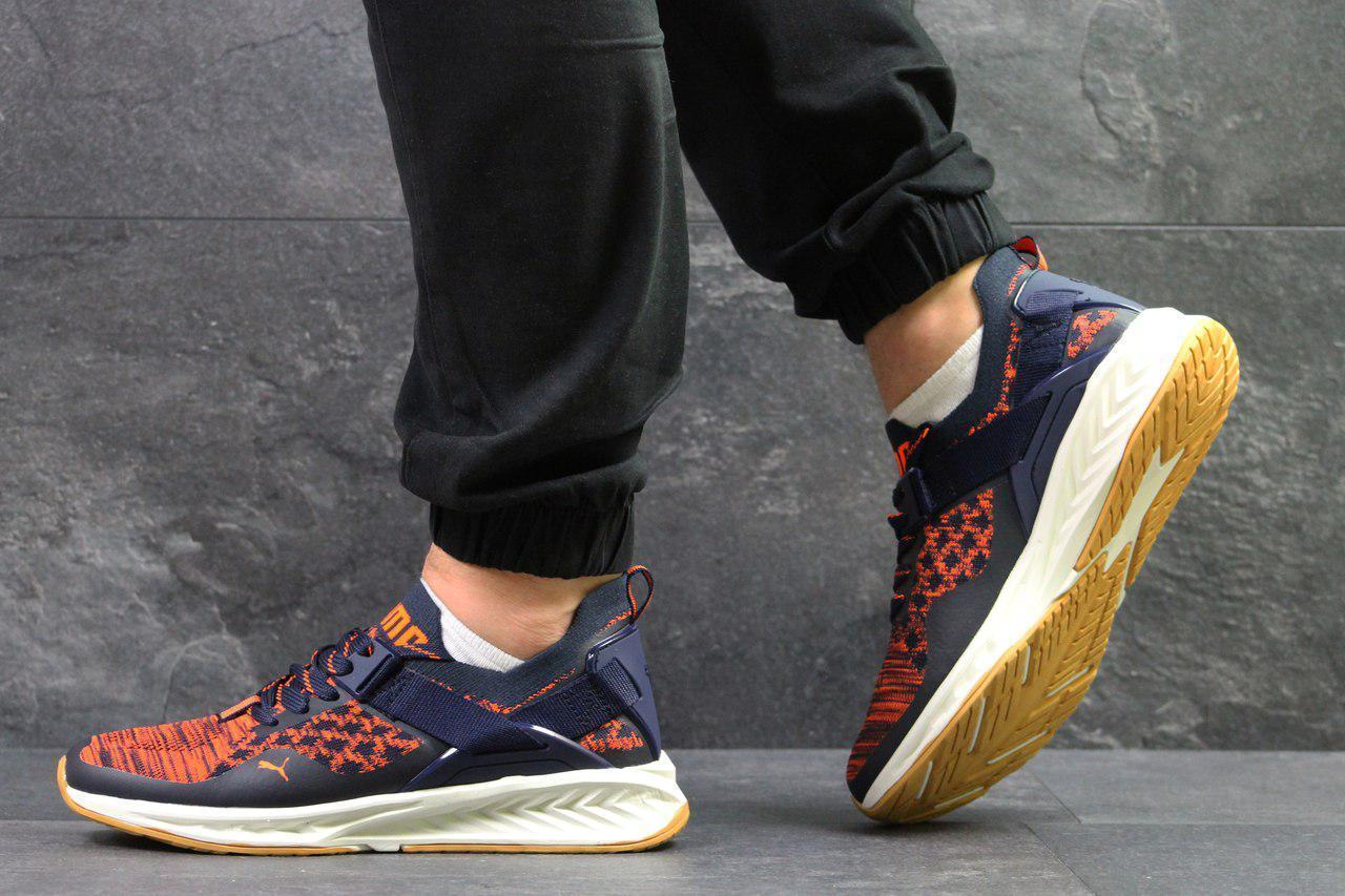 Мужские кроссовки Puma Ignite Evoknit,темно синие с оранжевым