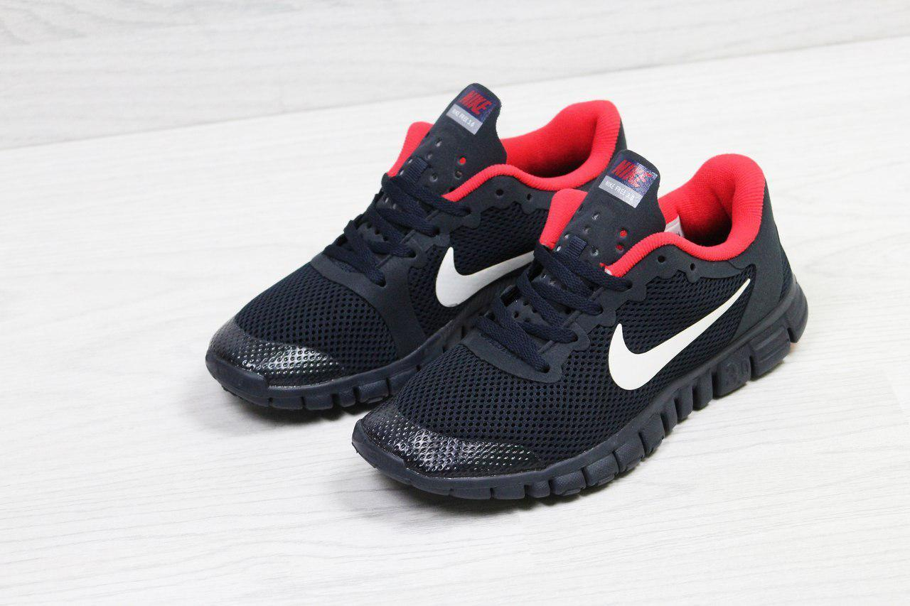 Подростковые летние кроссовки Nike Free Run 3.0,темно синие с красным