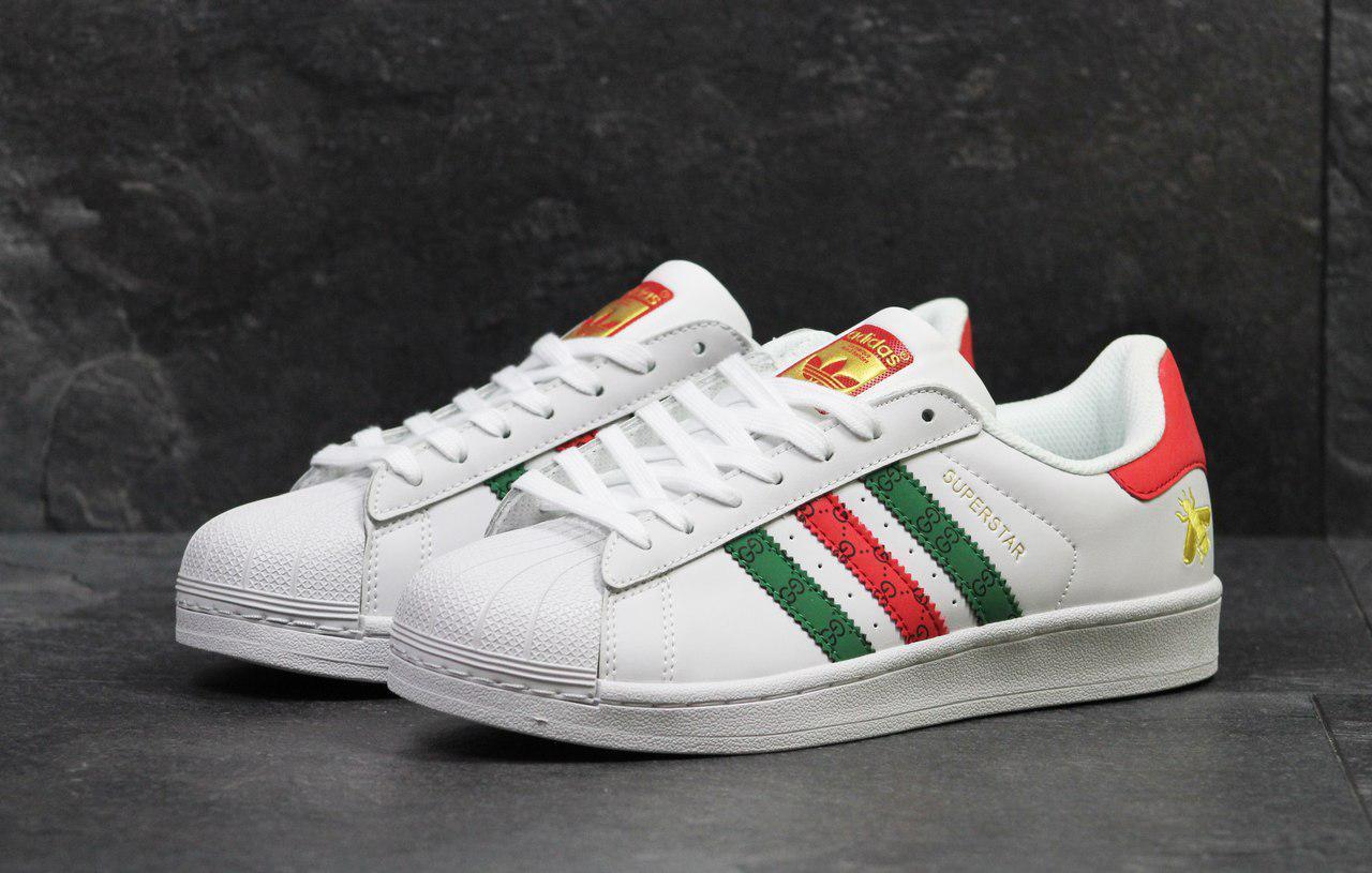 Мужские кроссовки Adidas Superstar белые/красные/зеленые
