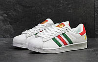 Мужские кроссовки Adidas Superstar белые/красные/зеленые, фото 1