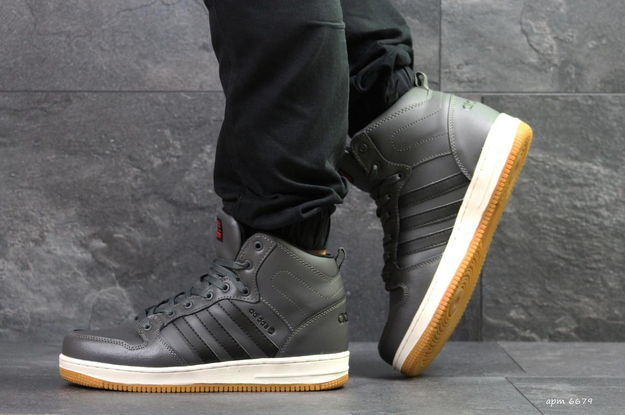 Высокие зимние кроссовки Adidas Cloudfoam,серые,на меху