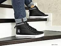Мужские высокие кроссовки (термо) Converse All Star,черно-белые 44,46р, фото 1
