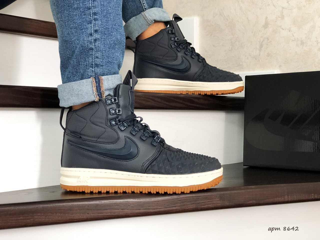 Мужские высокие кроссовки Nike Lunar Force 1 Duckboot,на меху,темно синие