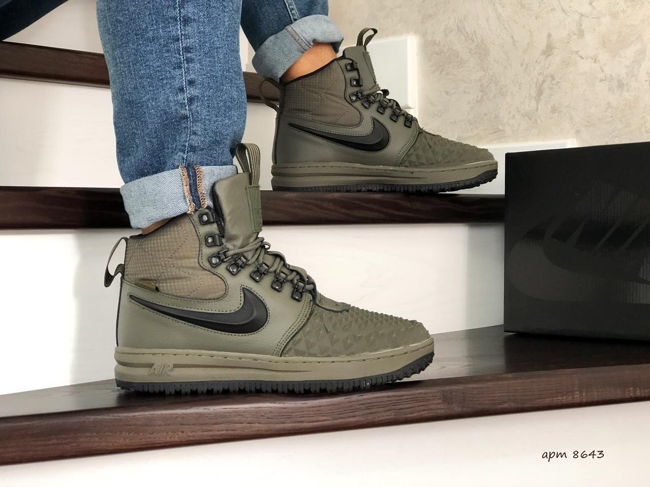 Мужские высокие кроссовки Nike Lunar Force 1 Duckboot,на меху,темно зеленые
