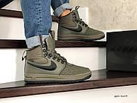 Мужские высокие кроссовки Nike Lunar Force 1 Duckboot,на меху,темно зеленые, фото 1