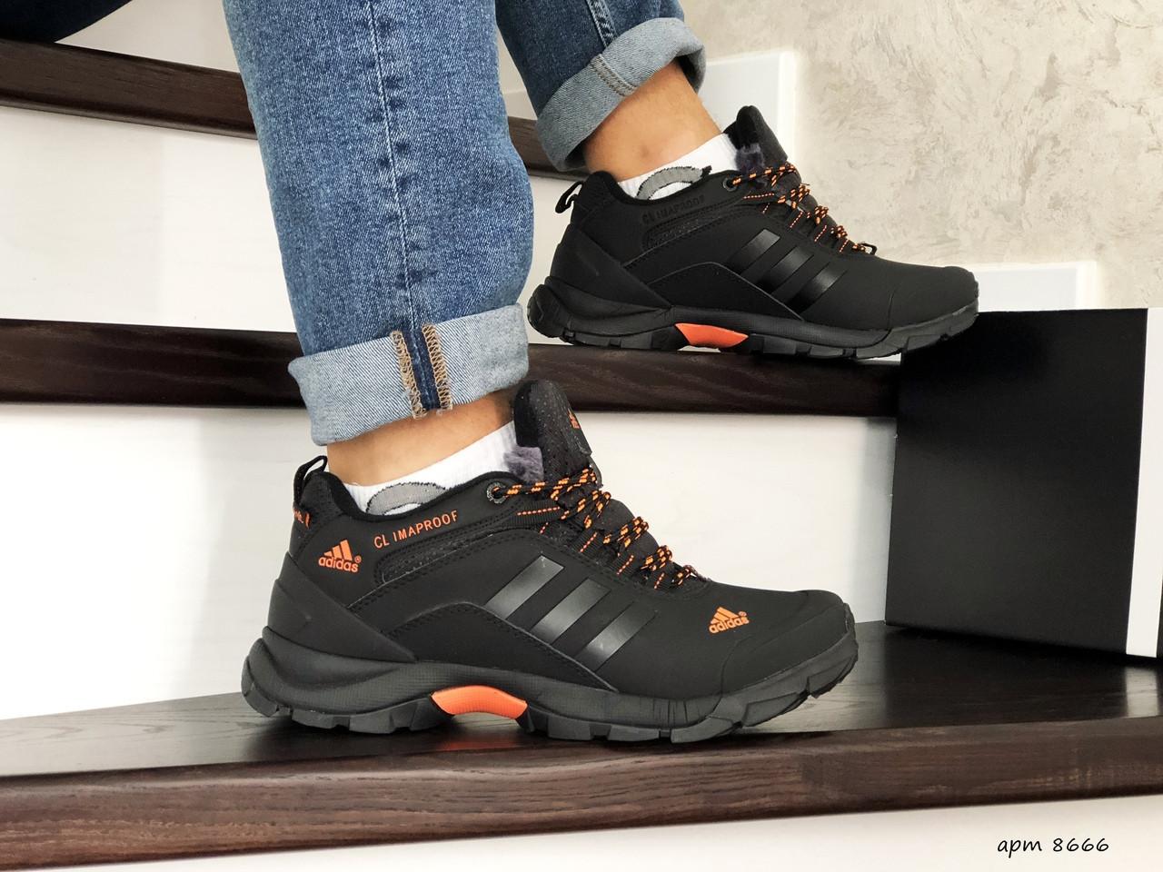 Мужские зимние кроссовки Adidas Climaproof,нубук,черные с оранжевым