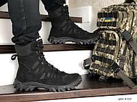 Армейские ботинки,зимние берцы нубук,на меху,черные, фото 1