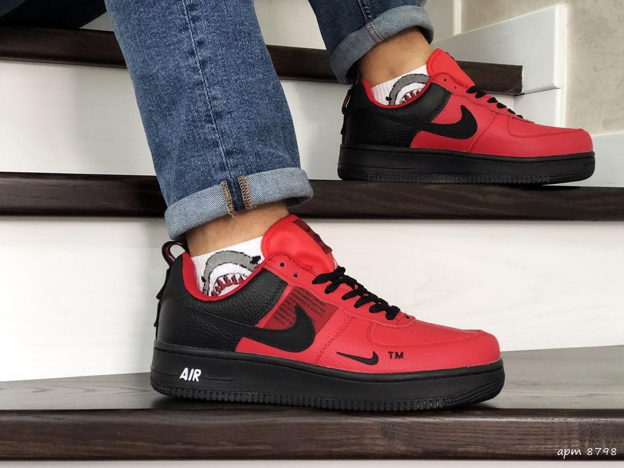 Мужские демисезонные кроссовки Nike Air Force,красные с черным