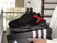 Кроссовки женские Adidas Y-3 Kaiwa замшевые,черные с красным, фото 1