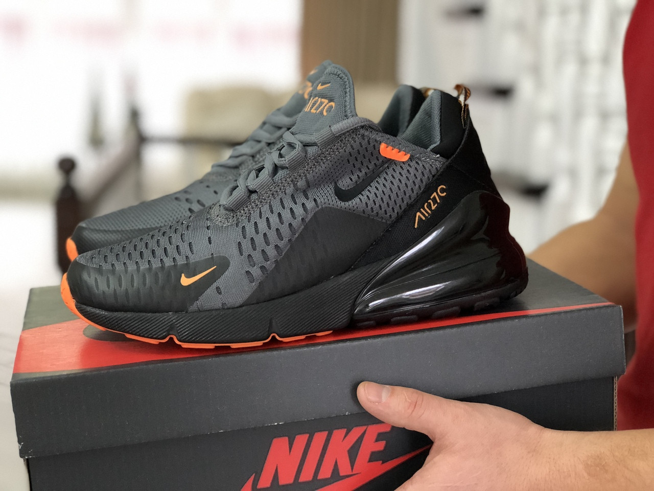 Мужские кроссовки Nike Air Max 270,сетка,серые с черным 44р