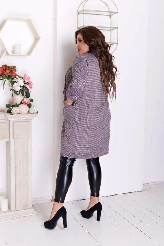Кардиган довгий жіночий кольору лаванди великі розміри( з 50 по 60 розмір)