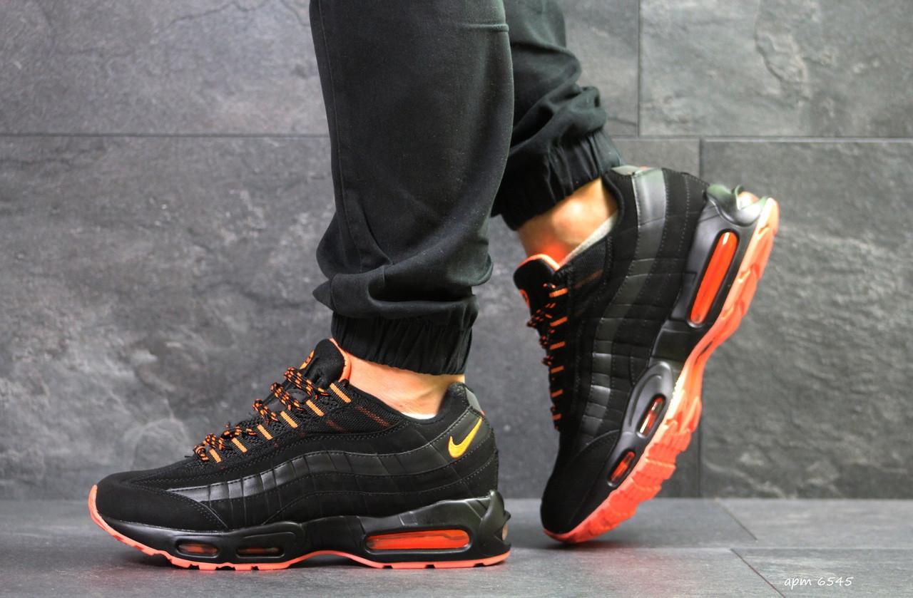 Кроссовки Nike air max 95,осенние,черные с оранжевым