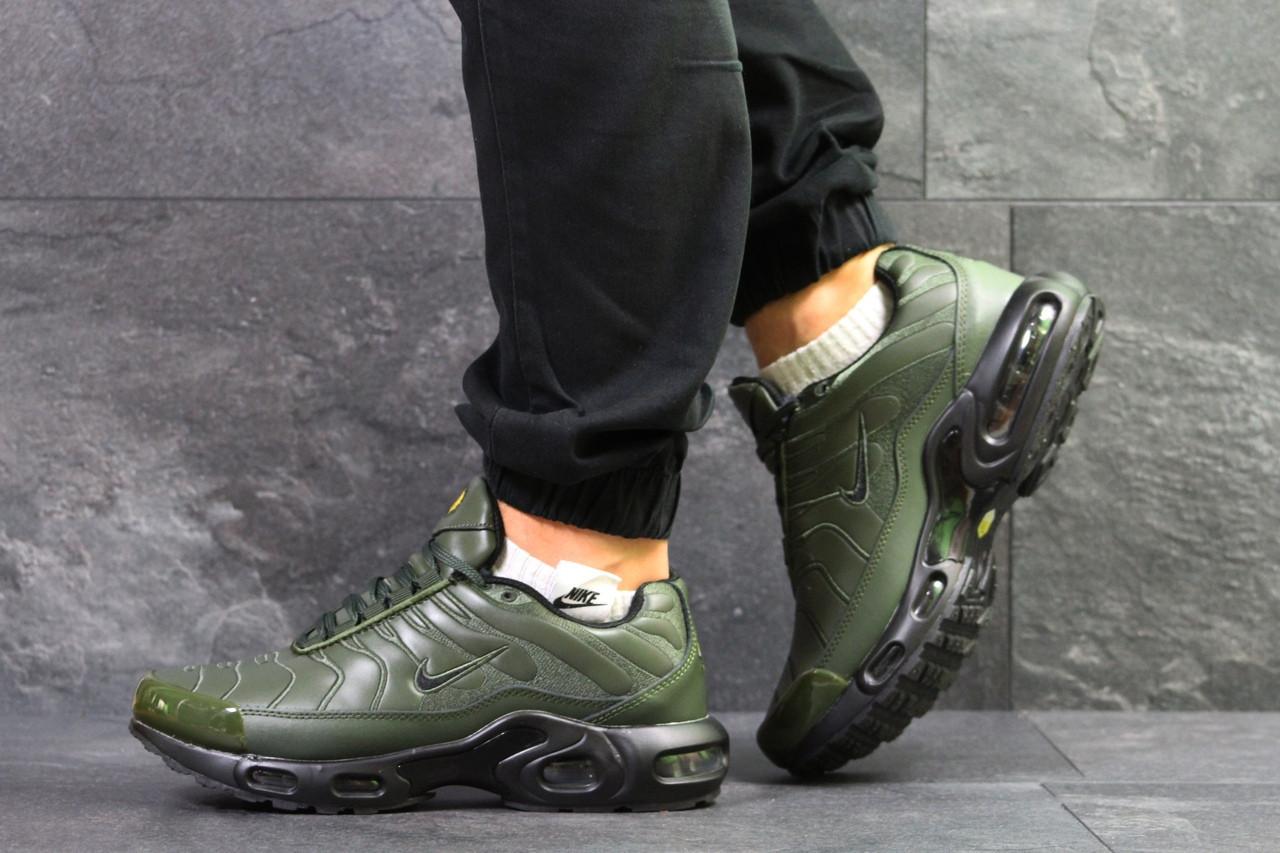 Мужские зимние кроссовки Nike air max TN,зеленые на меху 44,46р