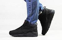 Подростковые зимние кроссовки Nike Huarache,черные,на меху 40р, фото 1